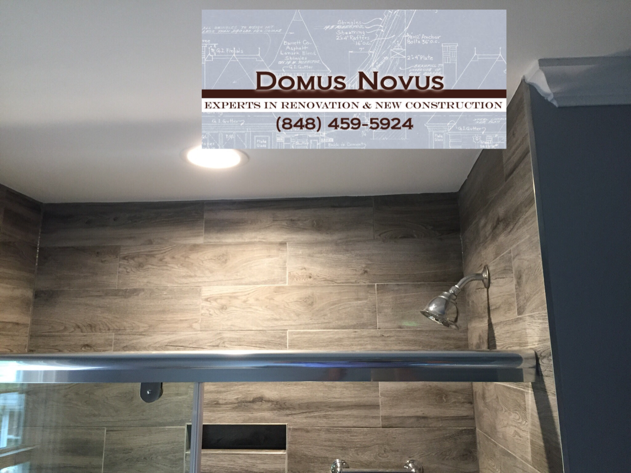 Bathroom, Sink, Toilet, Mirror, Winodw, Door, Floor, Shower, Shower Light, After Remodeling A Bathroom. Work done by General Contractors of Domus Novus LLC. Mydomusnovus projects. Experts in renovations and new constructions.
