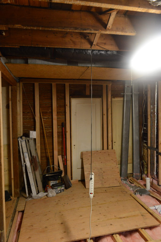 Prep work for changing house layout. Converting a bedroom to master bathroom by general contractors Domus Novus in New Jersey Summit Area. Bathroom insulation, plumbing, electrical, heated flooring, new windows, before completed master bathroom. Mydomusnovus
